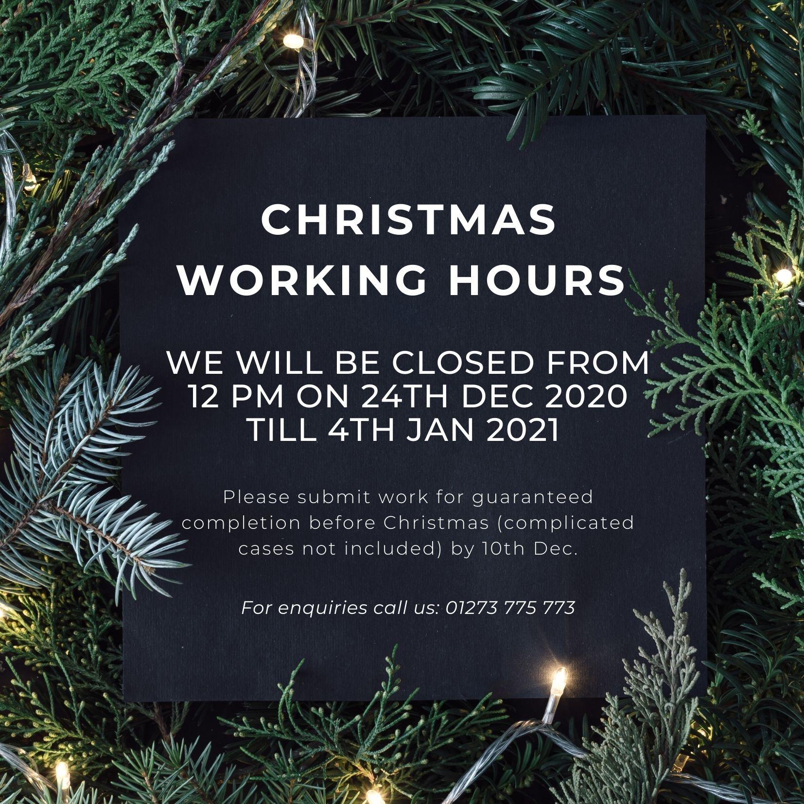 Christmas working times